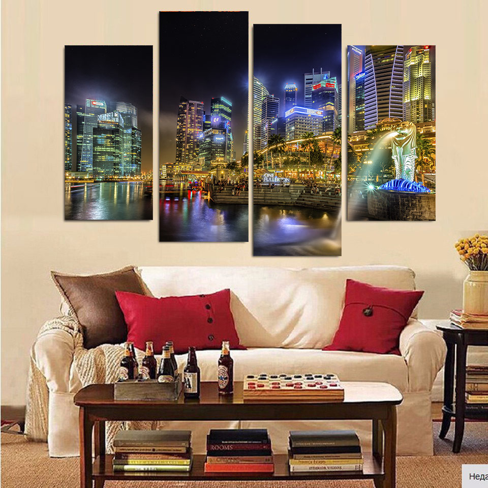Print Canvas Painting Singapore Sity Naght Singapur Wall Art Picture Bar Cafe Home Decoration Living Room Free Shipping XA035 In Calligraphy From