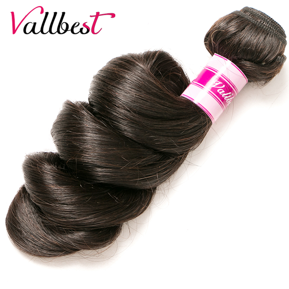 Vallbest Peruvian Loose Wave Bundle Natural Black #1B Remy Hair Weave Human Hair Bundles ...
