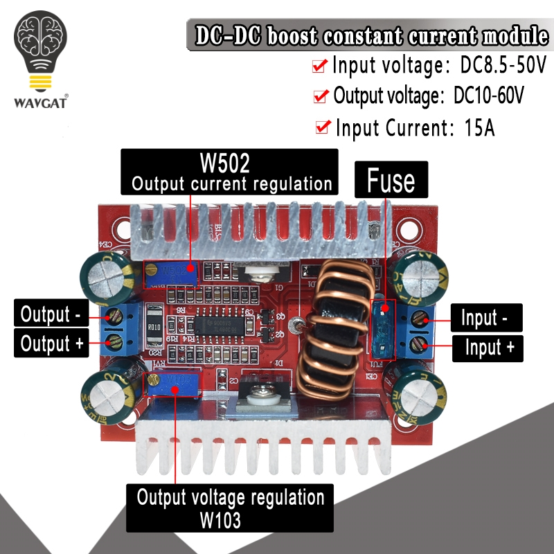 DC 400W 15A Step-up Boost Converter Constant Current Power Supply LED Driver 8.5-<font><b>50V</b></font> to <font><b>10</b></font>-60V Voltage Charger Step Up Module image