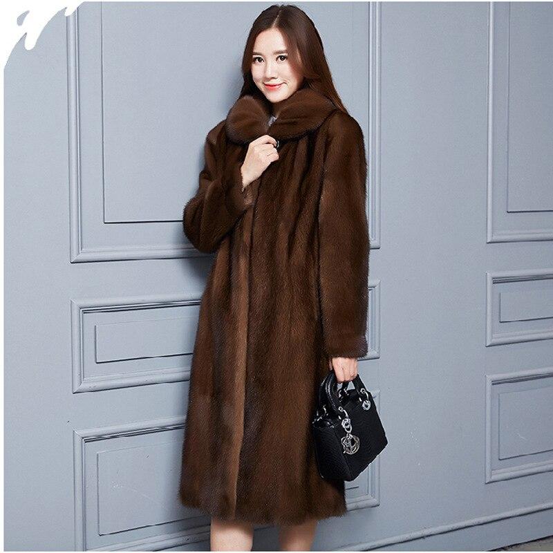Taille Longueur Totale Manteau 5xl Mode S Nouveau D'âge Haute Fourrure Grande De Femmes 2018 Imitation Élégante Brown Moyen Vison nZqx180Aw
