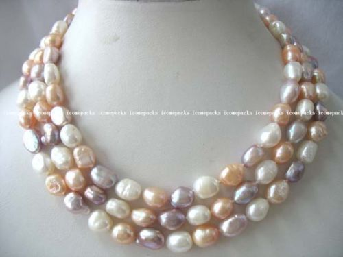 "100% Selling Picture full 60"" white pink purple freshwater pearl baroque necklace"