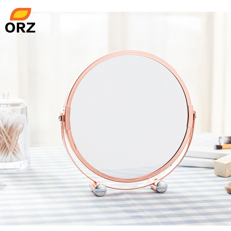 Orz Rose Gold Makeup Mirror Round Two Sided 1x 2x