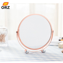 ORZ Rose Gold Makeup Mirror Round Two-sided 1X/2X Magnifying Bathroom Home Office Desktop Decorative