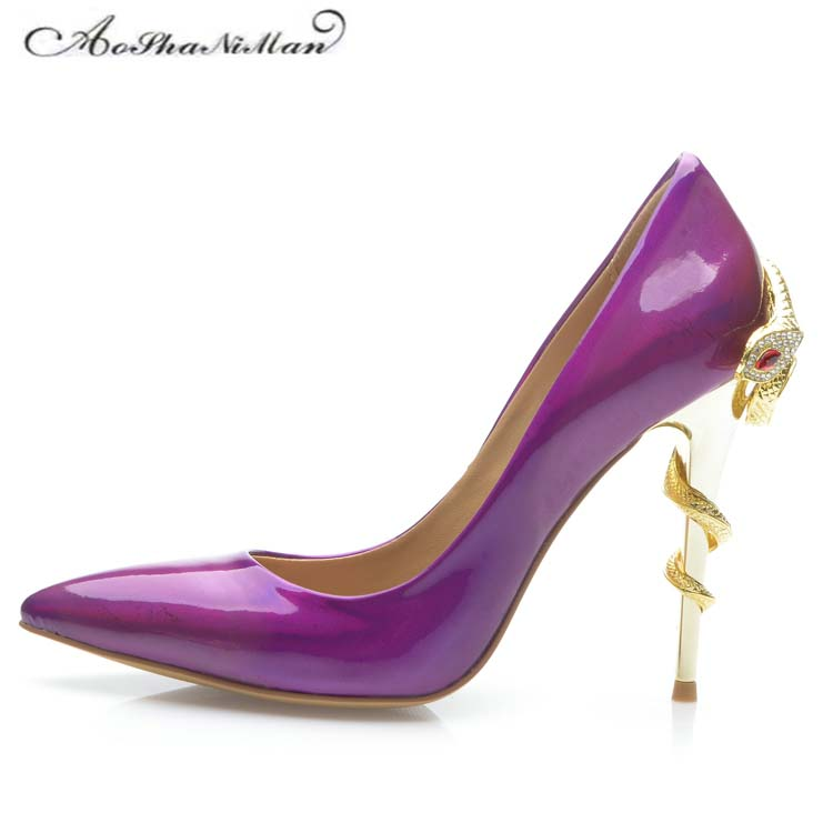 2018 newest Patent Leather purple High Heels 10cm Stilleto Sexy Pointed Toe Wedding Shoes Bride Snake heel Women Shoes 34-42 цена
