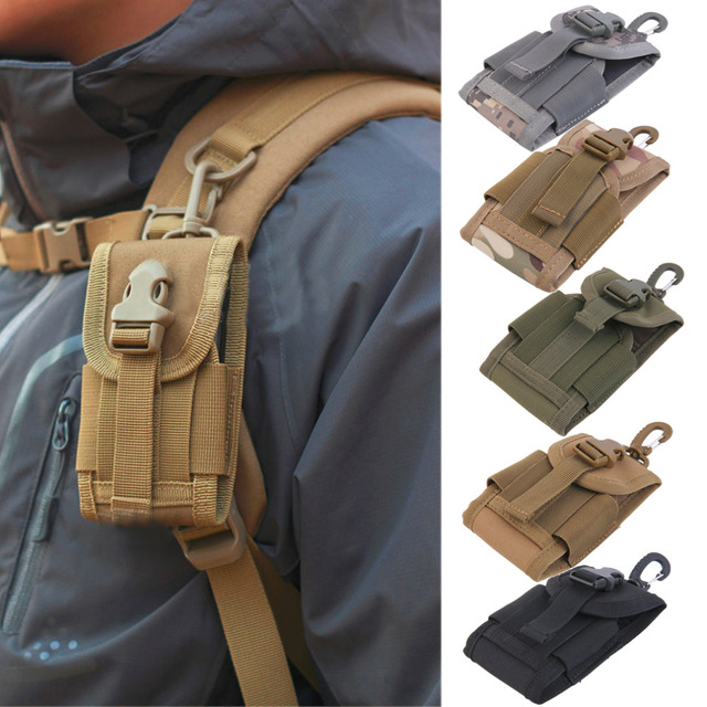 4.5 inch Universal Army Tactical Bag for Mobile Phone Hook Cover Pouch Case free shipping