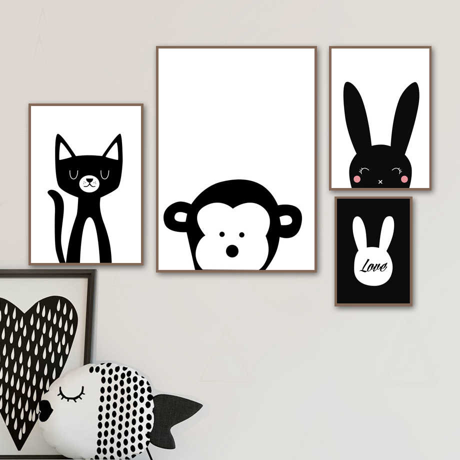 Животные Обезьяна Кролик Кот стены Книги по искусству холст картины Nordic Плакаты и принты черный, белый цвет украшения фотографии для декора детской комнаты