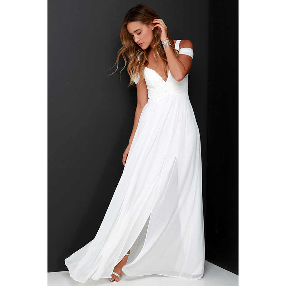 New 2018 Summer Vestidos Floor Length Solid Dinner Sexy Party White Dress  Side Slit V Neck d7fe12f817eb