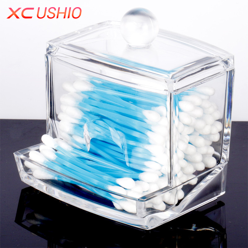 Fashion Clear Acrylic Cotton Swabs Organizer Box Cosmetic Q tip Storage Holder Makeup Storage Box Portable Cotton Pads Container