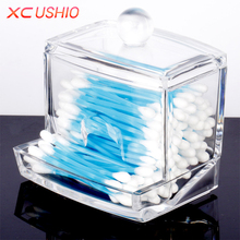 Fashion Clear Acrylic Cotton Swabs Organizer Box Cosmetic Q-tip Storage Holder Makeup Storage Box Portable Cotton Pads Container