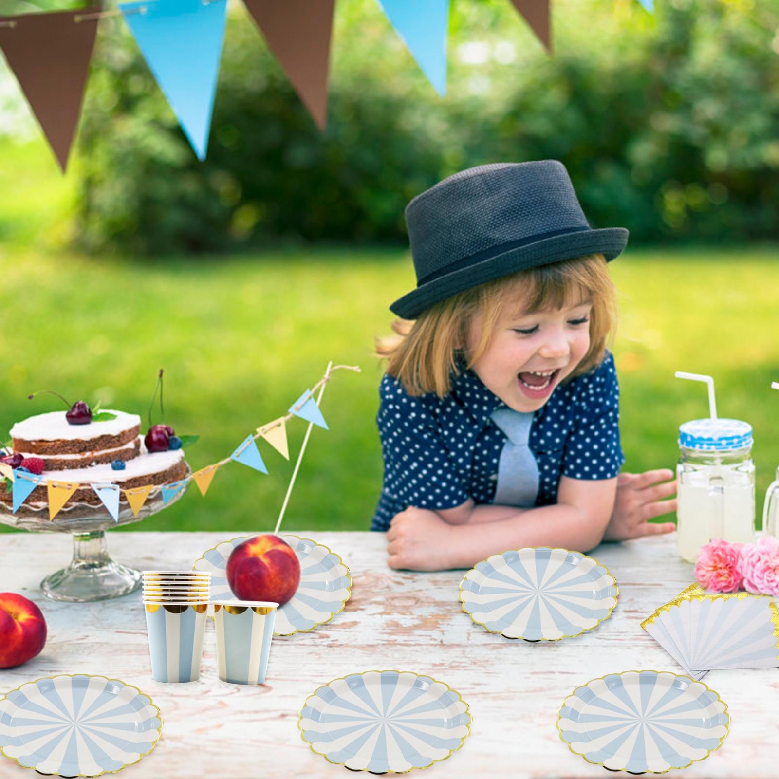 Verjaardag Bruiloft Decoraties Hot stamping Goud Roze Papier Streep Papier Cup Plaat Vlag Voor kids Baby Shower Jongen Meisje gift 5