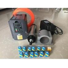 Электродвигатель шпинделя с водяным охлаждением, 2,2 кВт, комплект фрезерного шпинделя ER20 + инвертор 2,2 кВт/Vfd + водяной насос 80 мм + 13 шт. ER20 CNC
