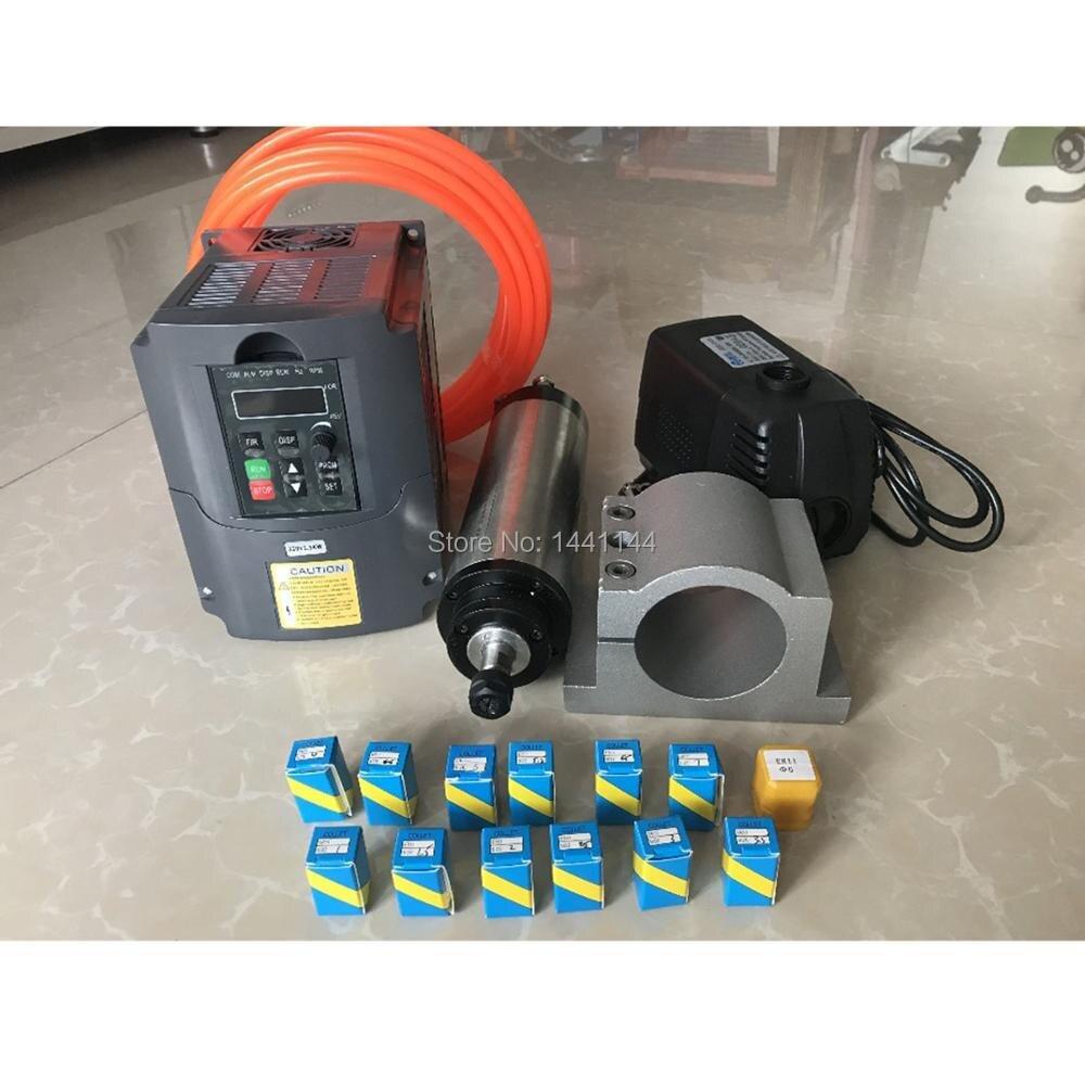 RU Entrega 2.2kw refrigerado a água do Motor do eixo Fuso de Fresamento ER20 Kit + 2.2kw Inversor/Vfd + 80mm de Água bomba + 13 pcs ER20 CNC