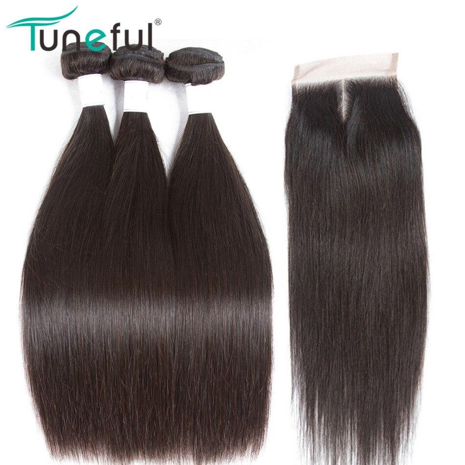 מלודית פרואני ישר שיער עם סגירת שיער Weave Bundle צבע טבעי שיער אדם רמי ללא 3 חבילות עם סגירה