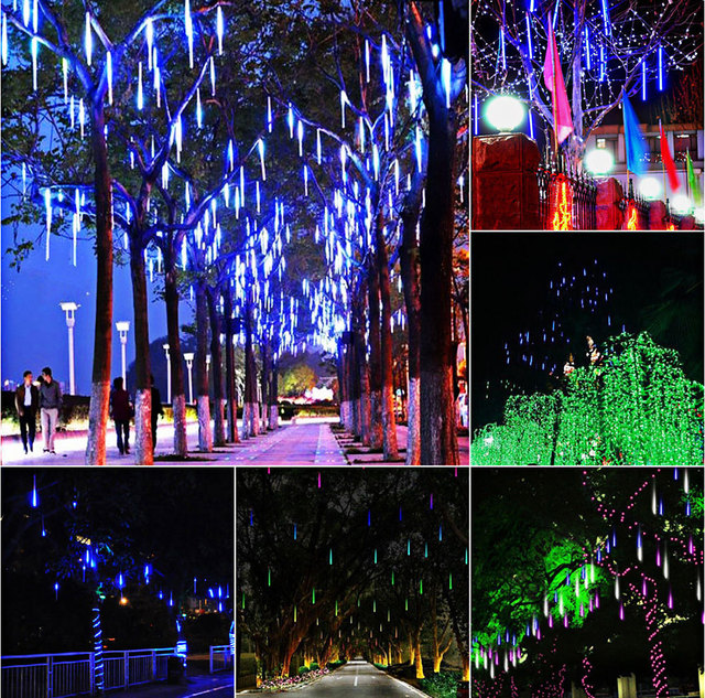 aimbinet 20cm 8 tube meteor shower rain tubes led christmas lights for outdoor festive garden xmas