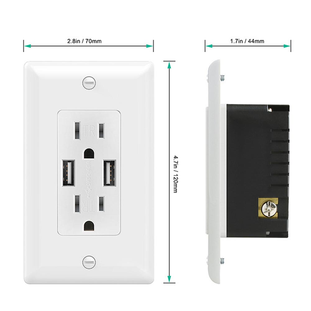 US Plug Smart Wall Socket Phone Charger Dual USB Port Power Outlet ...