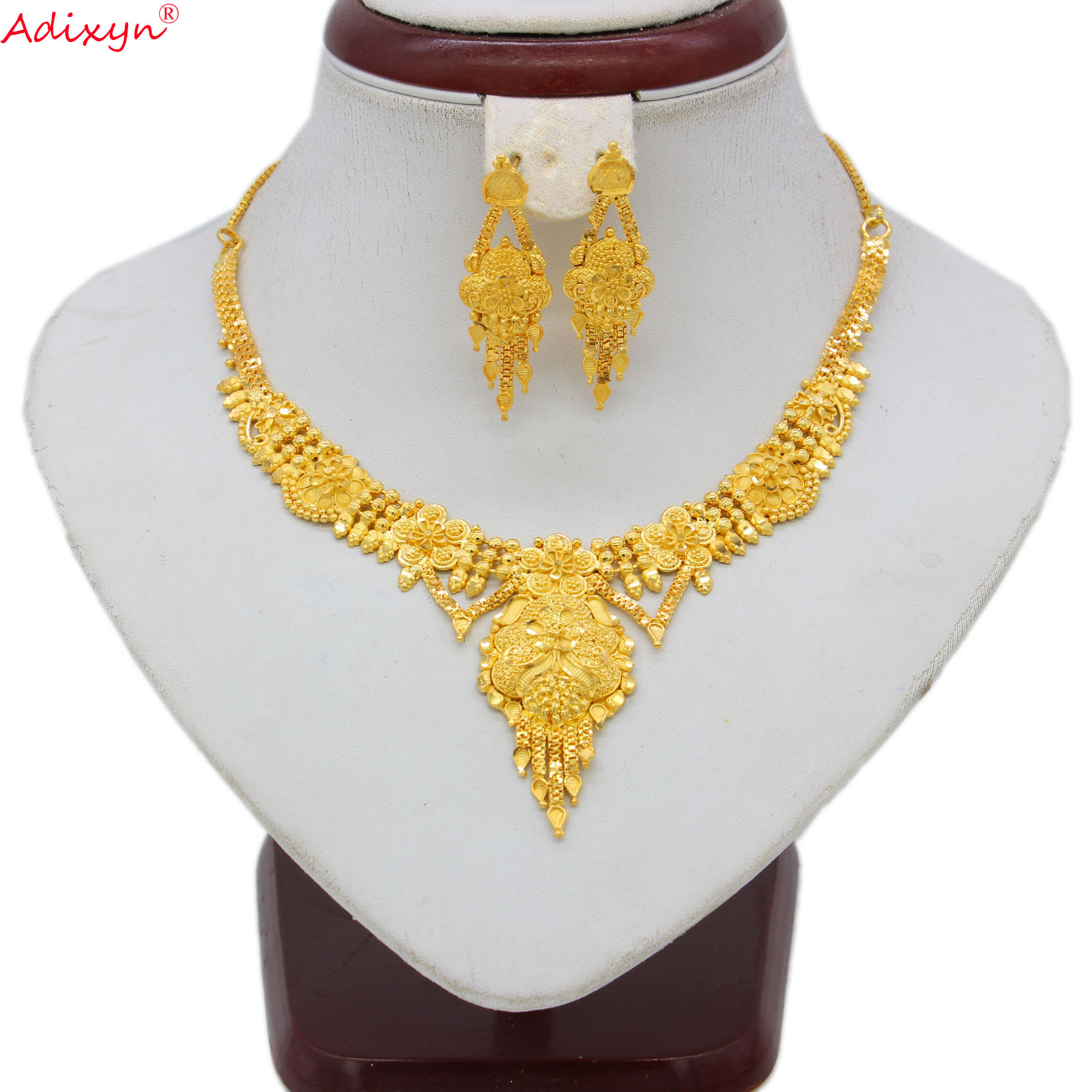 Adixyn India Jewelry Set Chokers Necklace Gold Color/Copper Tassel Earrings for Woman Dubai/Ethiopian Party Gifts N06084(China)