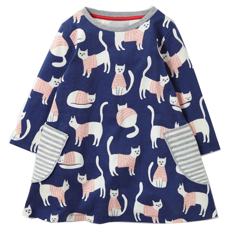 Princess Dress Long Sleeve 2017 Brand Spring Autumn Baby Girls Dress with Pocket Kids Tunic Jersey Dresses for Girls Clothes girls dresses long sleeve 2017 spring brand kids dress for girls clothes baby infant animal flower princess costumes children