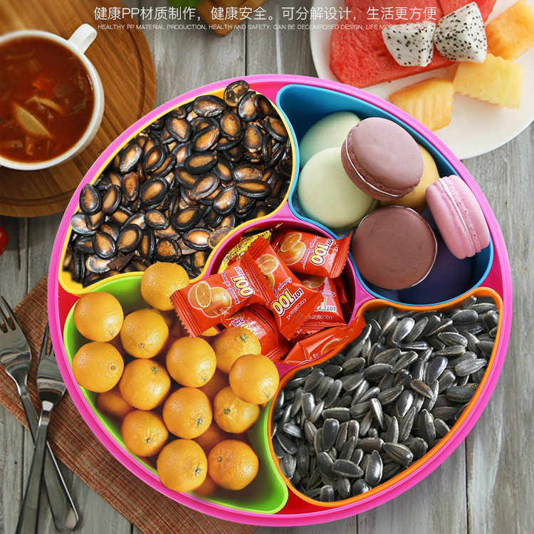 Household Candy Fruit Plate Snacks Food Container With Lid Decorative Plastic Plates Food Trays With Compartments For Wedding-in Dishes u0026 Plates from Home ... & Household Candy Fruit Plate Snacks Food Container With Lid ...