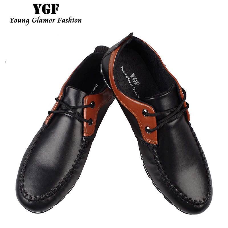 YGF Men Casual Leather Shoes Lace up Round Toe Flat Shoes Men Breathable Footwear Male Men Leisure Shoes Soft Moccasins
