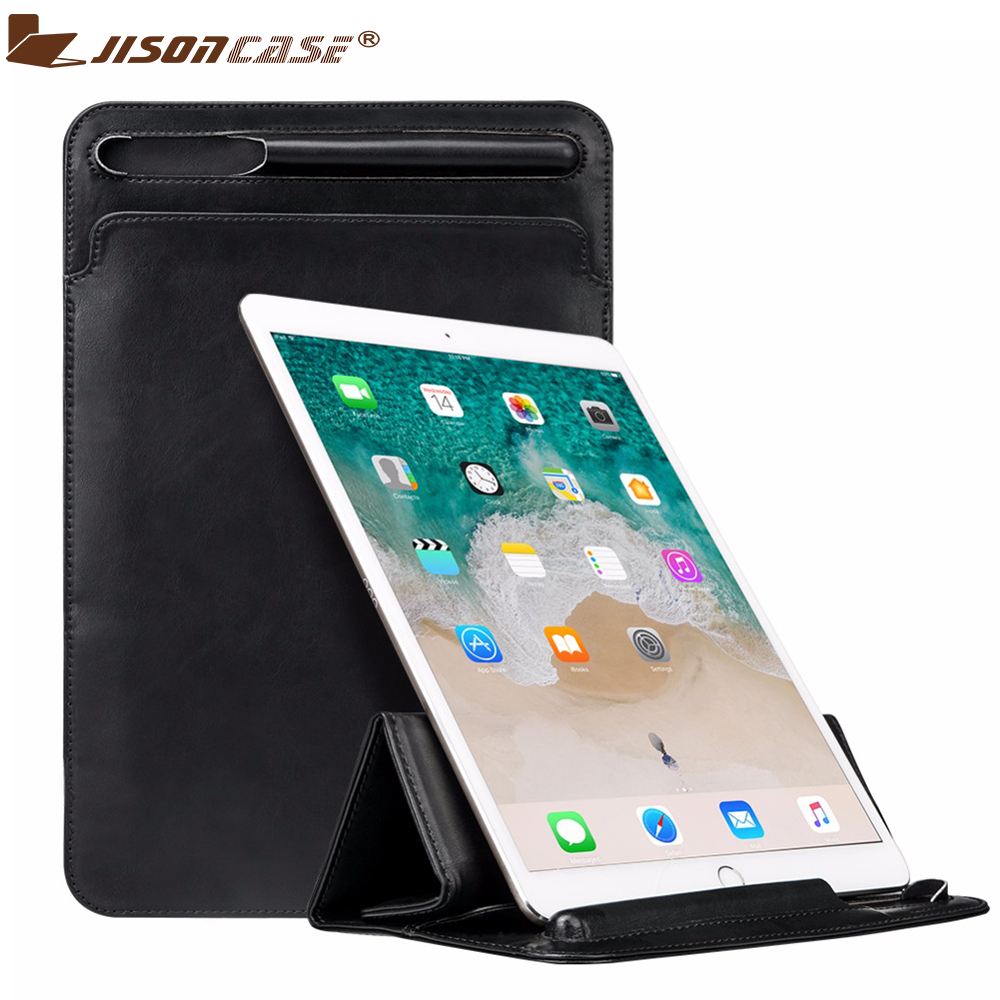 Luxury Leather Sleeve Bag for iPad Pro 12.9 2017 Case Improved Bag Folding Pouch Cover with Pencil Slot Holder for iPad Pro 12.9 jisoncase genuine leather sleeve case for apple pencil holder cover pouch anti knock fixable pen bag for ipad pro 9 7 10 5 12 9