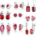 2016 925-sterling-silver Earrings For Women Geometric Crystal Round Square Red Cubic Zirconia Rhinestone Stud Earrings Women