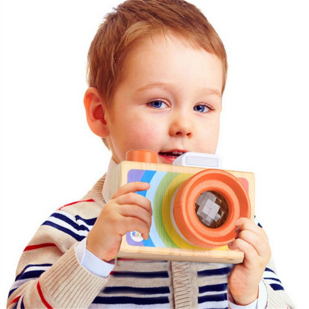 Cute Wood Camera Toys Safe Natural Toy For Baby Children Fashion Toys Rainbow Camera Birthday Christmas Holiday Gifts