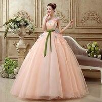 המלאי זול V צוואר שמלות Quinceanera Vestidos דה 15 Anos אור ורוד טול פרחי 3d sweet 16 שמלת vestido נשף שמלות