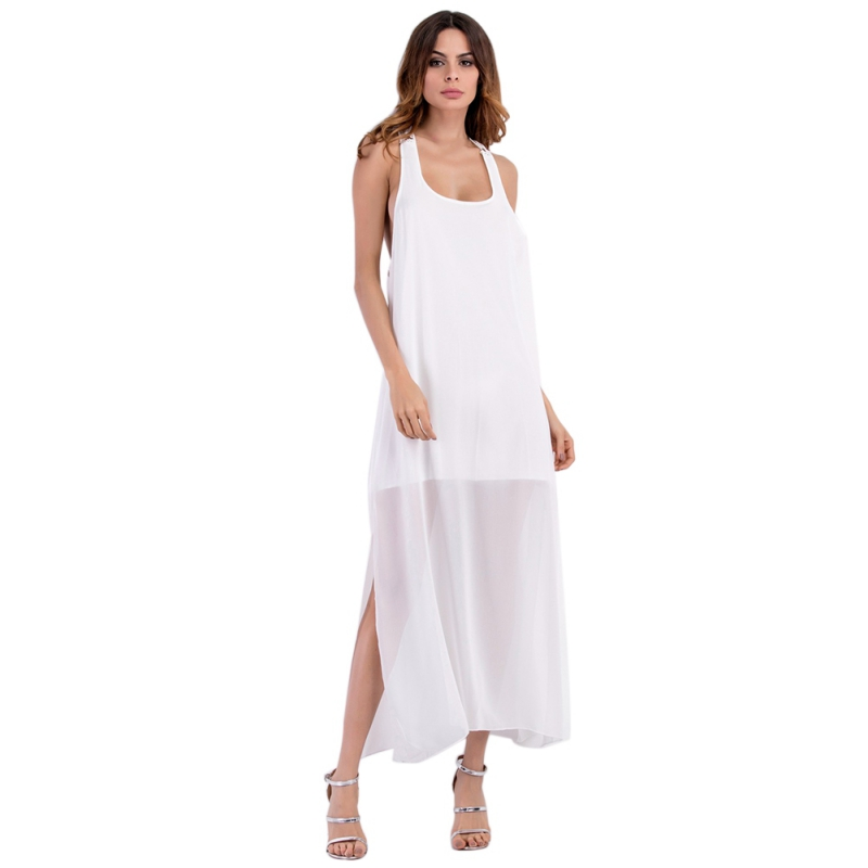 <font><b>New</b></font> <font><b>2018</b></font> <font><b>Fashion</b></font> Summer <font><b>Dress</b></font> <font><b>Women</b></font> <font><b>Sexy</b></font> Lace <font><b>Backless</b></font> Forked Ankle-Length Loose Bohemian Sleeveless Long <font><b>Dresses</b></font> Vestidos <font><b>White</b></font> image