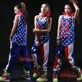 2015 Летом Новая Мода Гарем Хип-Хоп Танцы одежда письмо B свободные топ Костюмы Синий дышащий жилет без рукавов
