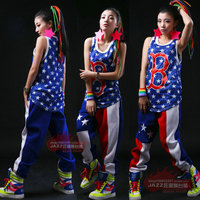 2015 Summer New Fashion Harem Hip Hop Dance wear letter B loose top Costumes Blue breathable sleeveless vest