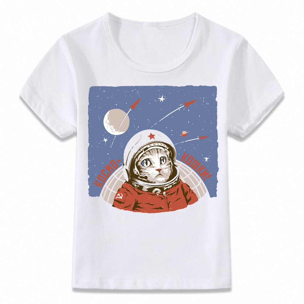 Kids T Shirt Soviet Union Space Adventure Astronaut Cat Dog And Hamster Children T-shirt For Boys/Girls Toddler Shirts Teeoal010