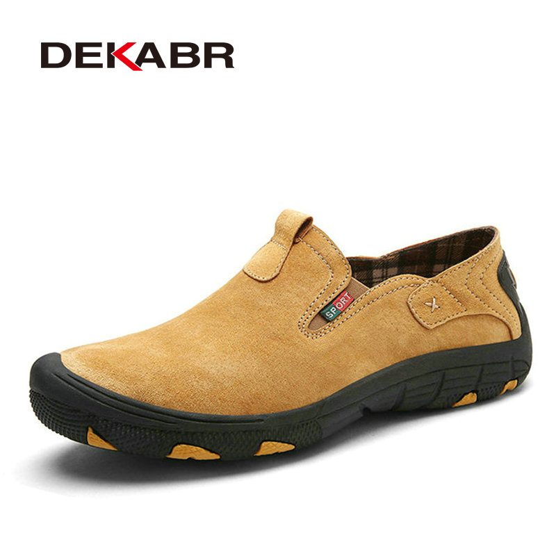 DEKABR Brand Men Real Suede Leather Casual Shoes Breathable Comfort Quality Men Shoes Open Shoes Fashion Non-Slip Casual Flats