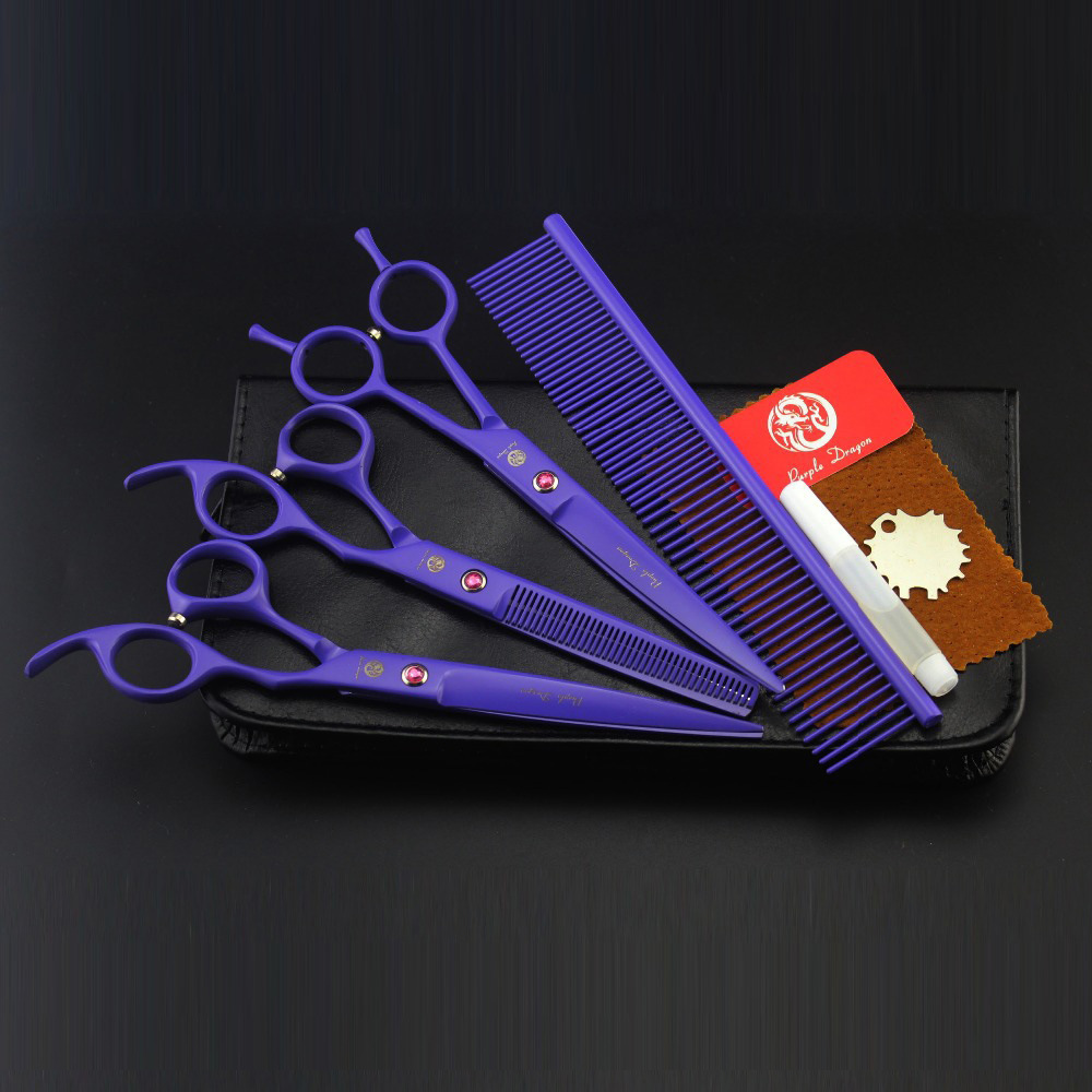 7 inch purple paint put 3 purple pet beauty scissors shear suit send comb7 inch purple paint put 3 purple pet beauty scissors shear suit send comb
