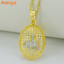 CZ Allah Pendant Necklaces,Cubic Zirconia Islam Pendant Arab Muslim Jewelry Gold Color Middle Eastern Items #011802