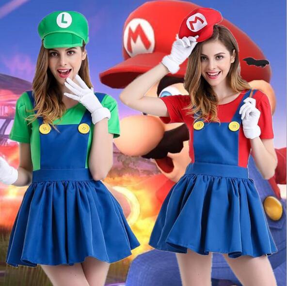 512a4b6b5d Halloween Super Mario traje mujeres Luigi traje ropa traje sexy fontanero  Super Mario Bros fantasia disfraces para adultos en Disfraces de cine de La  ...