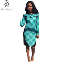 2016 Spring Autumn African Dresses For Women Ankara Clothing Wax Printing Knitting Stitching Batik Long Sleeve