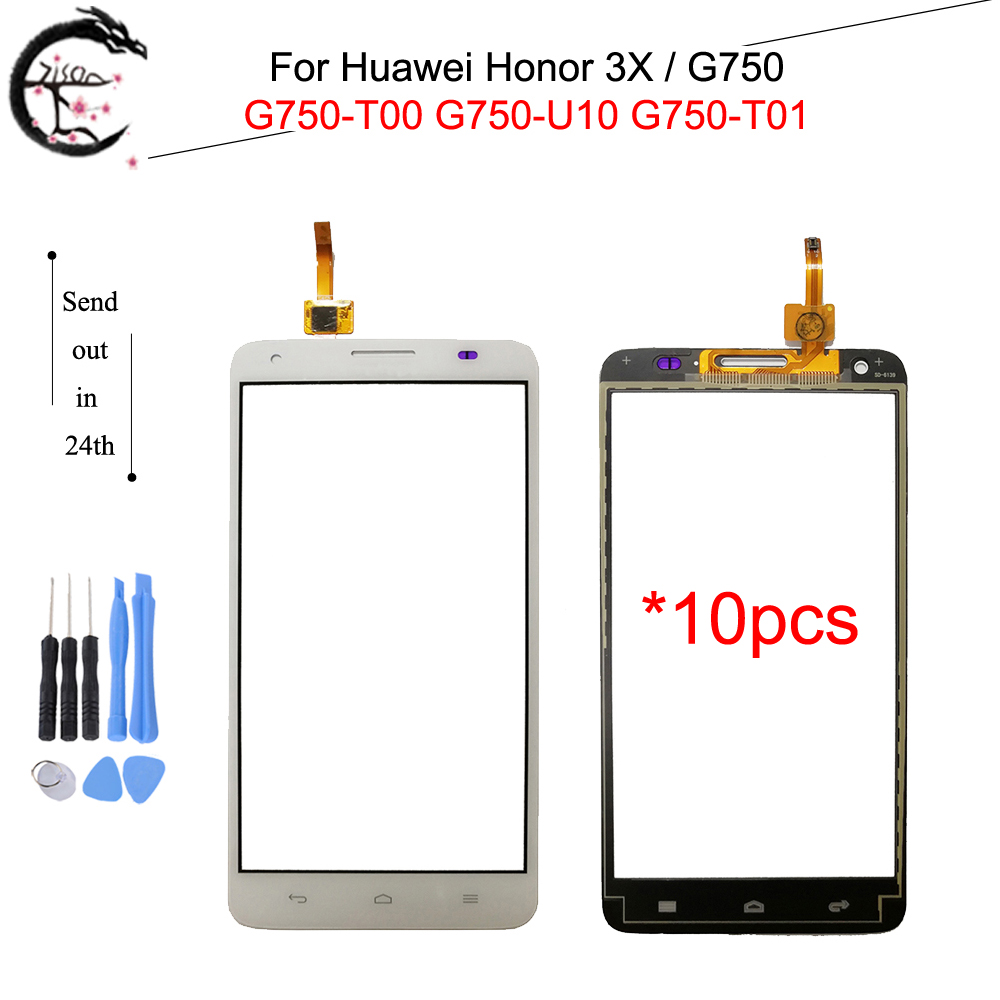 10PCS Touch Panel For <font><b>Huawei</b></font> Honor 3X <font><b>G750</b></font> <font><b>G750</b></font>-<font><b>U10</b></font> <font><b>G750</b></font> T01 T00 Touch Screen Glass With FPC Flex Cable Honor3X Sensor Digitizer image