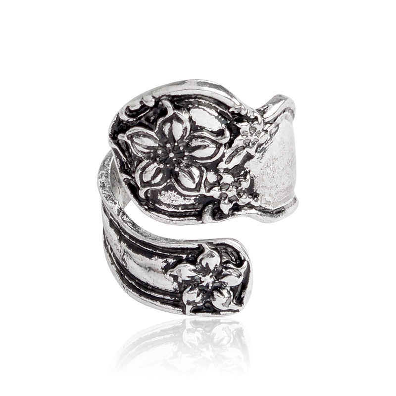 Miss Zoe Antique silver flower Carved Ring Vintage retro Jewelry Personality Punk Opening Rings For Women Free Shipping