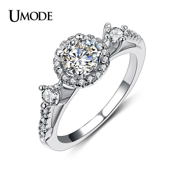 UMODE Anillos Luxury Rhodium plated Top Grade CZ Simulated  Halo Engagement Rings For Women Wedding Jewelry AUR0151