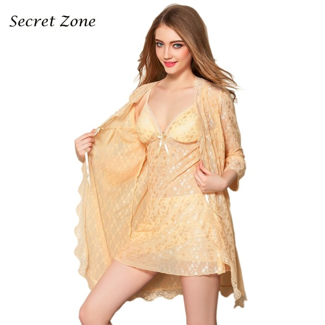 Secret Zone Autumn New Arrivel Sexy Lace Women Robe Set Soft Breathable Cardigan+V-Neck With Pad Nightgown Set