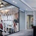 Diy criativo padrões geométricos superfície do espelho adesivo de parede para sala de jantar decoração da sala de estar decoração da parede 3d decalque da arte