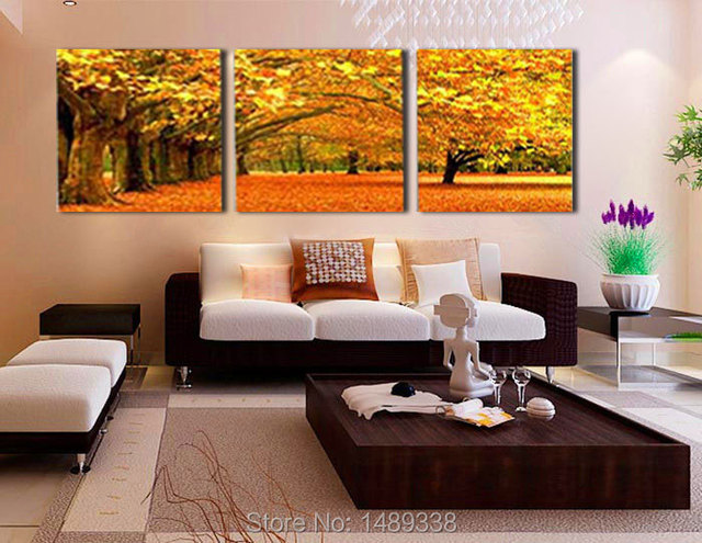 3 Piece Wall Art Modern Abstract Large cheap autumn Maple leaves ...