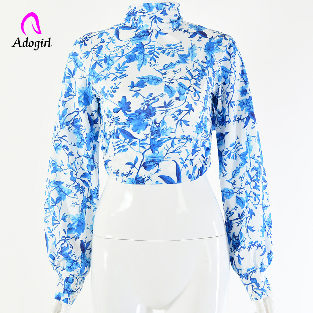 Sweet Flora Print Ruffled Shirts Stand Collar Chiffon Backless Blouses 3D Lotus Decoration Autumn Elegant Long Sleeved OL blouse in Blouses amp Shirts from Women 39 s Clothing