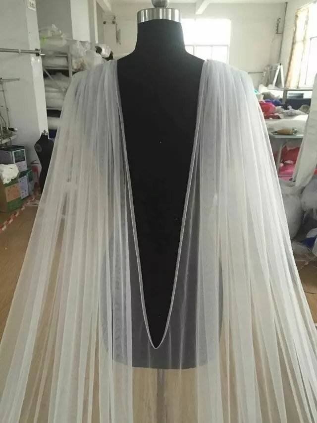 Image 2 - New Cathedral Length Bridal Cape Cloak Lace Long Wedding Dress Accessory in White,Off white,Ivory-in Wedding Jackets / Wrap from Weddings & Events