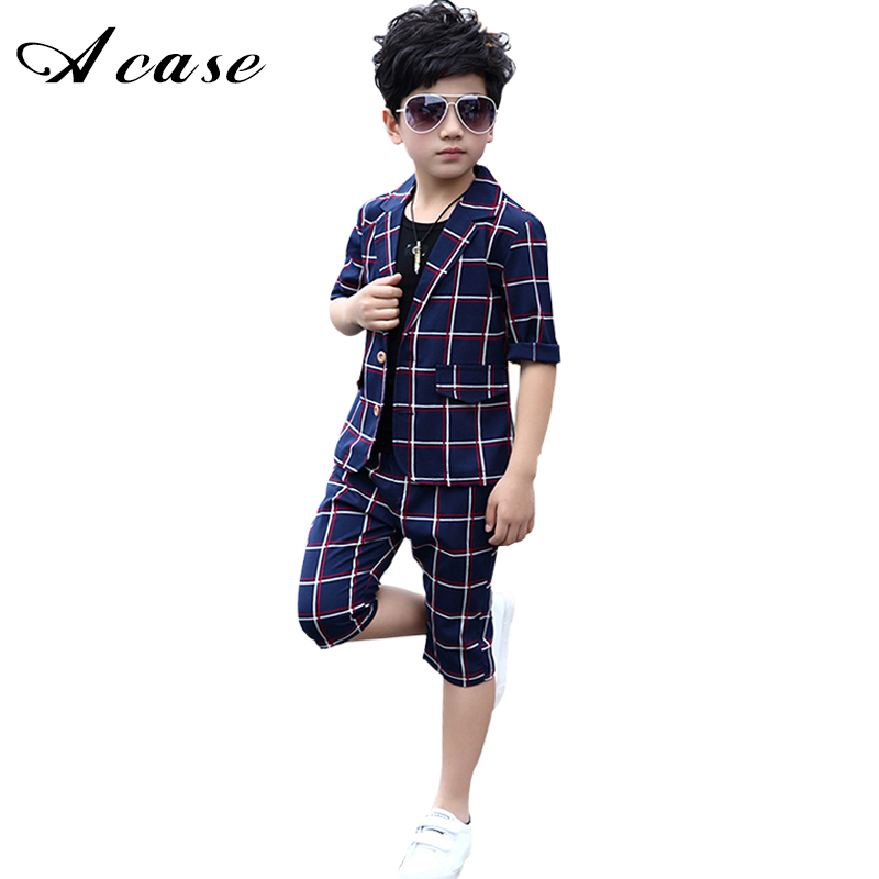 2018 British Child Boys Suit for Weddings 3 Pieces New Fashion Summer Teens Boy Plaid Suits Set Kids Children's Formal Clothing summer child suit new pattern girl korean salopettes twinset child fashion suit 2 pieces kids clothing sets suits