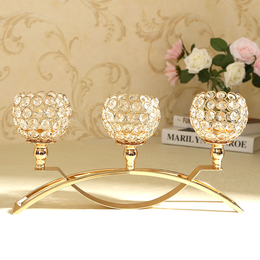 Home Decoration Crystal Candle Holders With 3 Arms Candelabra For Wedding Dining Table Centerpieces