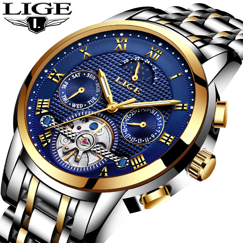 LIGE Mens Watches Military Sports Top Brand Mechanical Watch Men Luxury Business Fashion Waterproof Watch Relogio Masculino+Box wrist switzerland automatic mechanical men watch waterproof mens watches top brand luxury sapphire military reloj hombre b6036