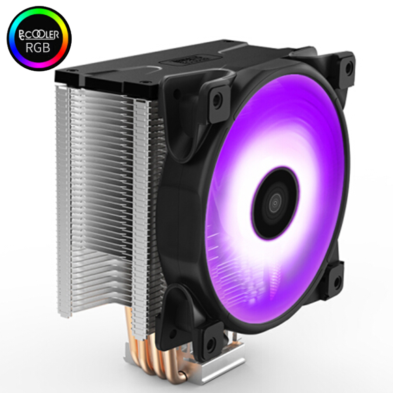 Pccooler X4 4 Heatpipe CPU cooler 12cm RGB 4pin fan for Intel 1155 1156 AMD AM4 radiator heatsink CPU cooling 120mm quiet PC fan 90mm 3 pin cooling fans 6 heatpipe desktop computer cpu cooler fan bracket ultra quiet for intel i5 ga775 1150 1155 for amd am2