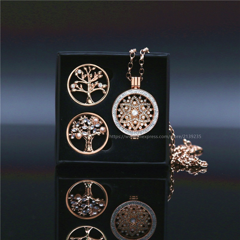 New Arrival My Coin Gift Box Set with 2pcs extra Tree of life Coin Disc and 1 Set Rose Gold Flower Pendant