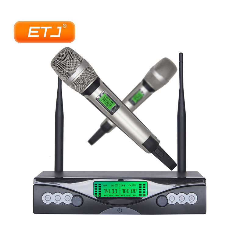 Professional Wireless Microphone 2 Handheld Transmitter Karaoke VHF Wireless Microfone C-9000 professional wireless microphone karaoke digital led display handheld microfone with receiver transmitter set for ktv home